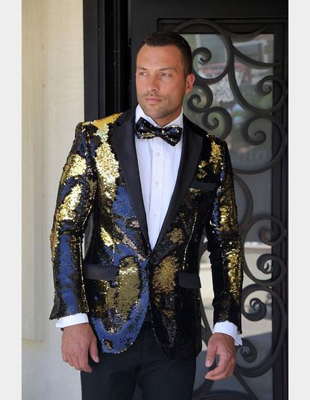 Men's Fashion Shiny Black/Gold/Sequin Flashy Stage Party Paisley Black Satin Shawl Lapel Sportcoat Blazer