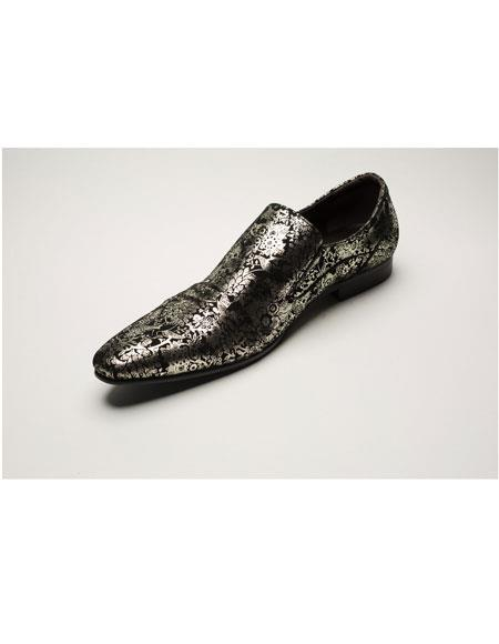 Black/Gold Casual Slip-On Dress Shoes