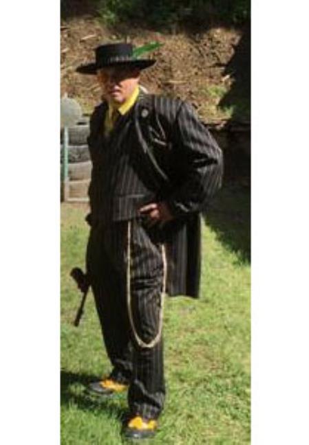 Buy Zoot-100 Men's Black Gold Stripe Single Breasted Long Zoot Suit