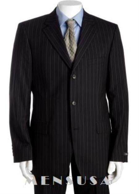 SKU# WJ779 Black & Gray Multi Mini Pinstripe 3 Buttons Super 120S Wool Suits