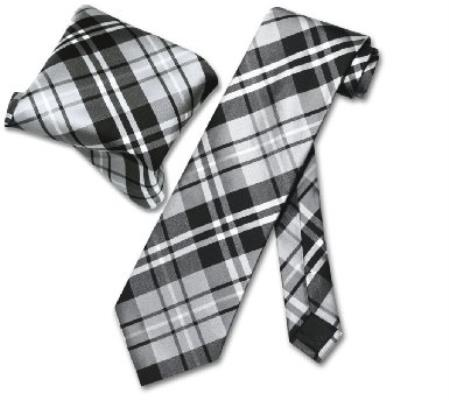 Black Gray White NeckTie & Handkerchief Matching Tie Set