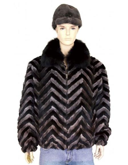 SKU#GD724 Mens Fur Black/Grey Pull-Up Zipper Black Fox Collar Jacket