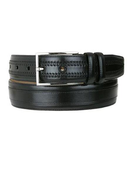 Mezlan Mens Genuine Leather Black Handmade Belt