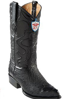 Wild West Black J-Toe Smooth Ostrich Wing Tip Cowboy Boots