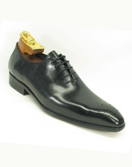 Men's Black Leather Perf Lace Up Style Fashionable Carrucci Black Dress Shoe