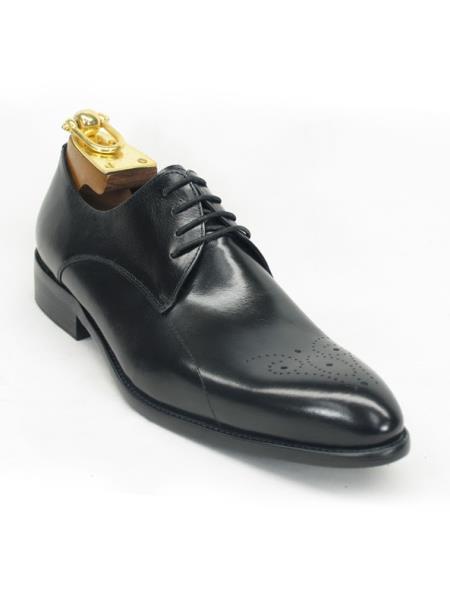 Mens Fashionable Carrucci Black Lace Up Style Shoe