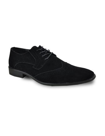 Men's Black Lace Up Tuxedo Suede Velvet Fabric Tuxedo Dress Shoe For Men Perfect for Wedding