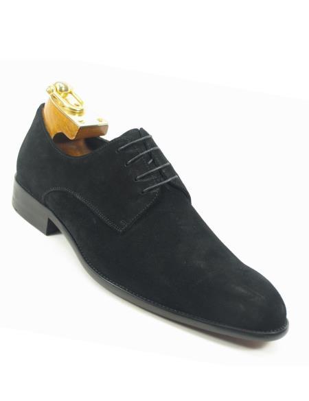 Mens Laceup Style Black Suede Fashionable Carrucci Black Dress Shoe