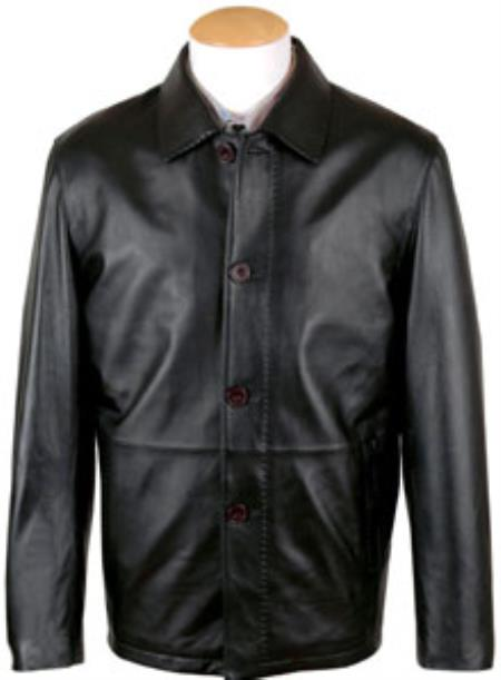Mens Pen Stitching Lamb Leather Button Coat Black Big and Tall Bomber Jacket