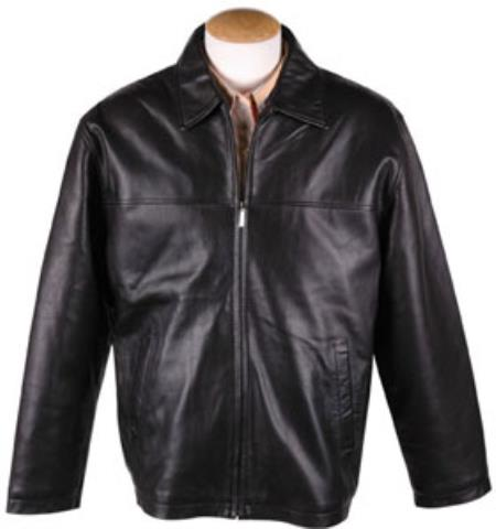 Mens Black Lamb Leather Zip JD  with Removable Liner Big and Tall Bomber Jacket