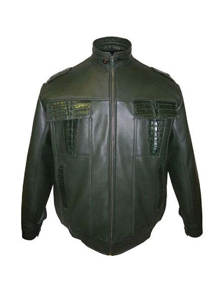SKU#AP609 G-Gator - 2013 Lamb Skin/Crocodile Zipper Closure Black Jacket