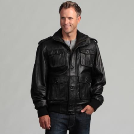 Mens Black Lambskin Leather Big and Tall Bomber Jacket