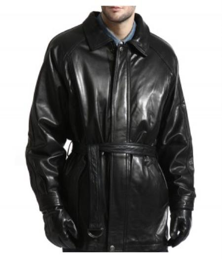 Lambskin Leather Belted 3/4