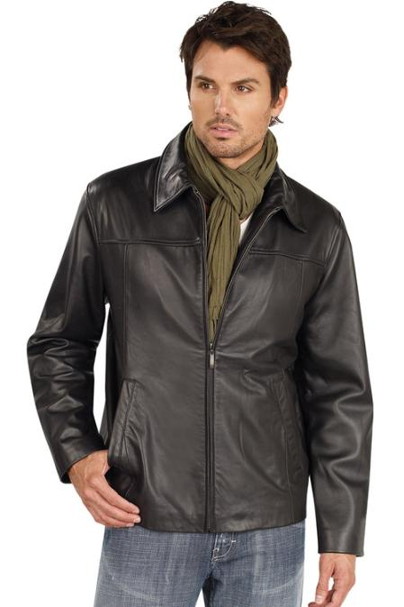 Men's Leather Big and Tall Bomber Jacket Black