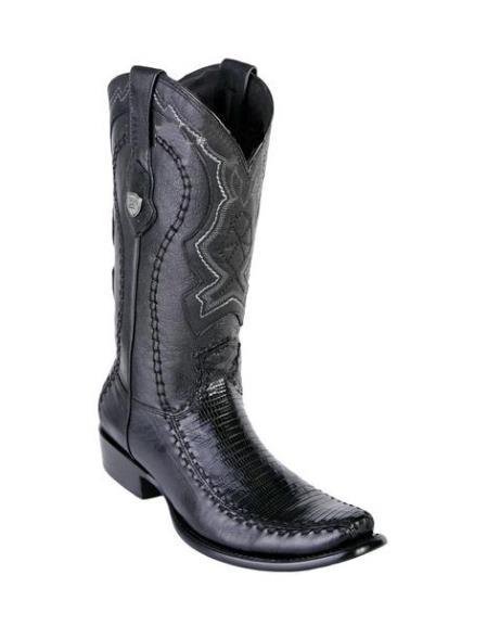 Men's Genuine Teju Lizard Deer Skin Black Wild West Dubai Toe Handmade Dress Cowboy Boot Cheap Priced For Sale Online