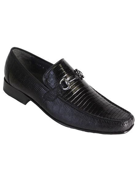 Los Altos Mens Stylish Genuine Teju Lizard Skin Slip-On Black Casual Dress Shoes
