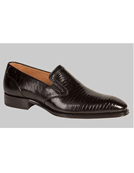 Buy GD470 Men's Black Genuine Lizard Slip Handmade Dress Shoes Authentic Mezlan Brand