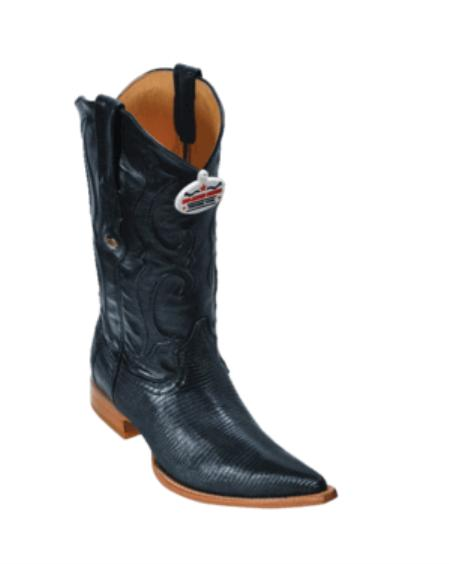 Black  Ring Lizard Cowboy Boots