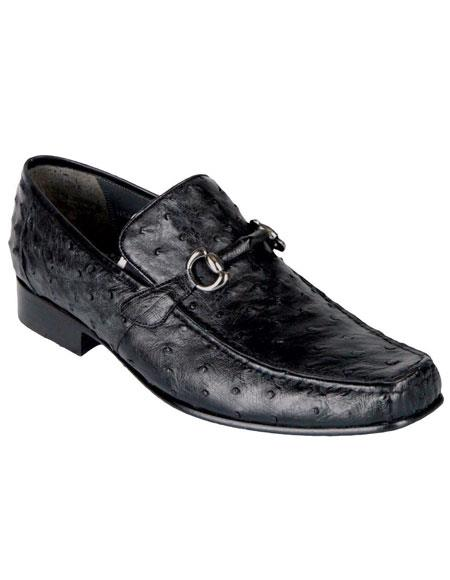 Mens Black Genuine Ostrich Los Altos Casual Slip On Stylish Dress Loafer Style Dress Shoes