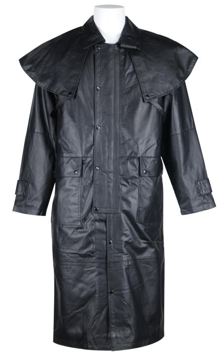 Long Leather Duster Trench Coat Black