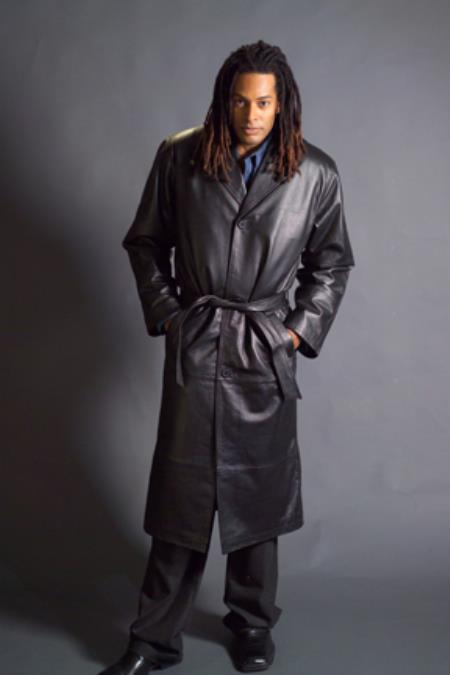 Mens Dress Coat Long Leather Duster Trench Coat Black