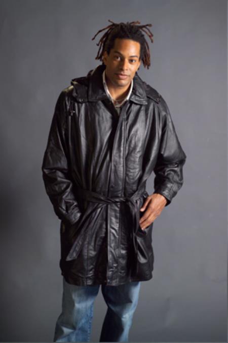 Long Mens Dress Coat Leather Duster Trench Coat Black