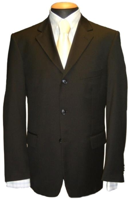 SKU# KL-0P9 Black Mens Single Breasted Discount Dress 3 Button Suit $79