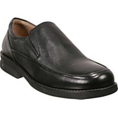 SKU# TUJ904 24823 Black Moc-toe slip-on  comfort and flexibility Rubber sole $99