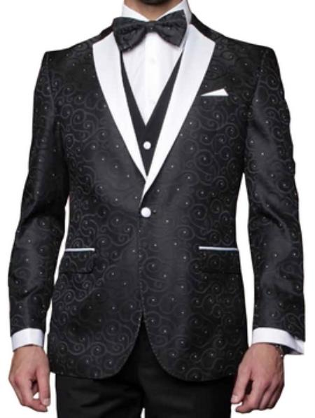 Mens 1 Button Black P A I S L E Y Tuxedo with white satin Lapel and diamond accents - Three Piece Suit