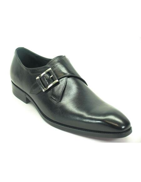 Mens Carrucci Fashionable Black Monk Strap Buckle Leather Stylish Dress Loafer