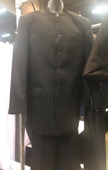 Buy SM4424 Mens Mandarin Black Navy Stripe ~ Pinstripe Banded Collar Suit 5 Button Style