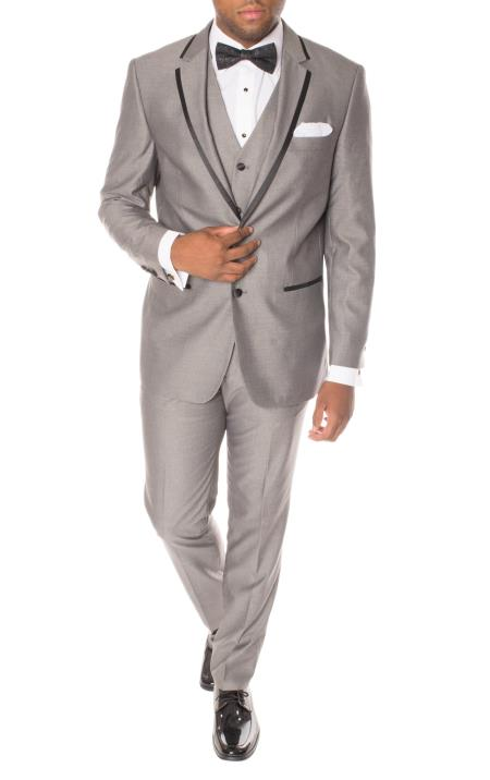 Men's Grey And Black Trimmed Notch Lapel 3 Piece Slim Fit Polyester Vested Tuxedo