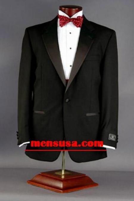 SKU# ZT19 Black One Button Notch Lapel Super 120s Wool Mens Tuxedo+ Shirt + Bow tie $165