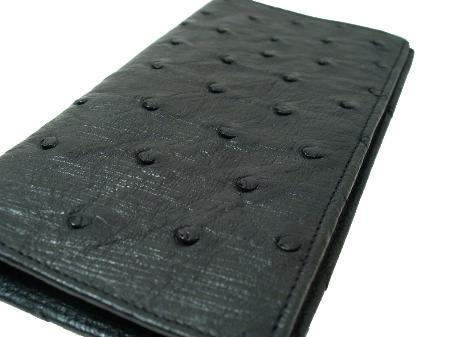 Mens Genuine Exotic Animal Skin Ostrich Checkbook - Black
