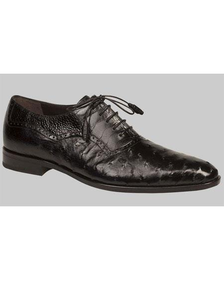 Buy GD514 Men's Black Ostrich Quill Skin Exotic Oxford Leather Shoes Authentic Mezlan Brand