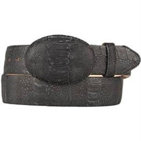 Buy AA538 Men's Black Original Ostrich Leg Skin Western Style Belt