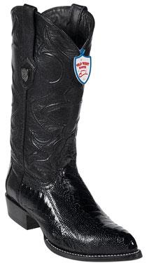 West Black Ostrich Leg Cowboy Boots