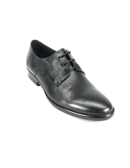 Men's Carrucci Soft Leather Black Lace-up Oxford Leather Black Dress Shoe