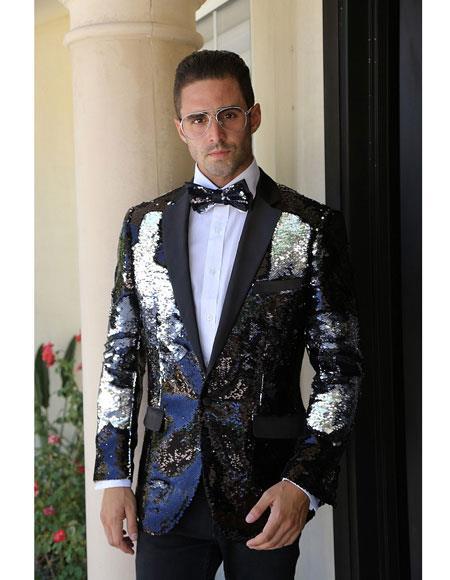 Mens Black And Silver Fashion Paisley Print Tuxedo Sequin ~ Shiny ~ Flashy ~ Sharkskin Blazer Dinner Jacket