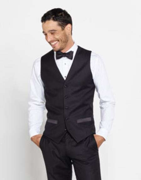 Men's Tuxedo Shirt & Bowtie + Black Pants + Black Vest