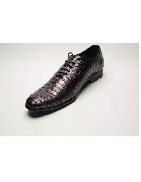 Mens Two Toned Lace Up World Best Alligator ~ Gator Skin~ Croc Print Black & Purple ~ Plum ~ Eggplant Dress shoe