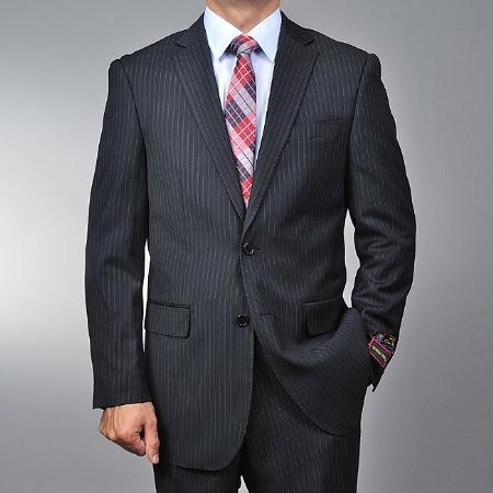 Mens Black Pinstripe 2-button Stripe ~ Flat Front Pants Regular Fit Cheap Priced Business Suits Clearance Sale