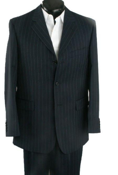 SKU# DML2 3 Button Black Pinstripe premier quality Wool feel poly~rayon