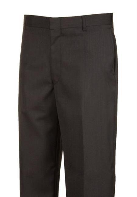 Black Plain Front Dress Pants unhemmed unfinished bottom