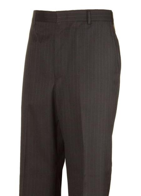 Black Striped Plain Front Dress Pants unhemmed unfinished bottom