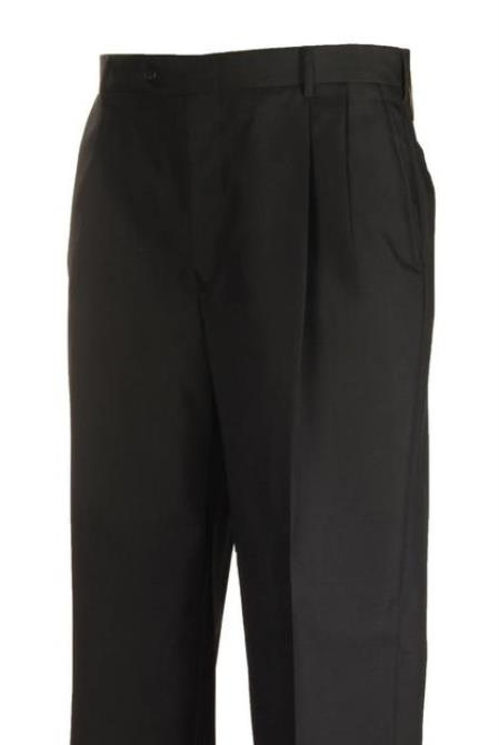 Black American USA Made Pleated Separate Dress Pants unhemmed unfinished bottom
