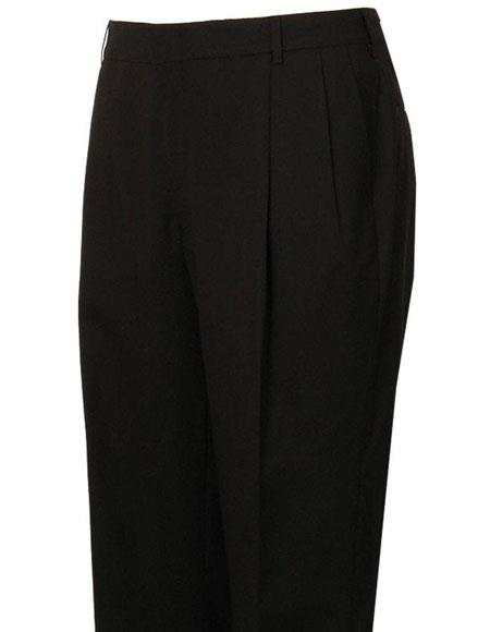 Mens Stylish Pleated Black Atticus Classic Fit Wool Pant unhemmed unfinished bottom