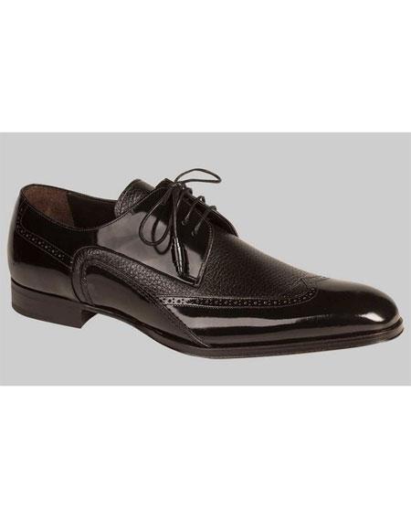 Buy GD508 Men's Lace Black Polished Wingtip Leather Handmades Shoes Authentic Mezlan Brand