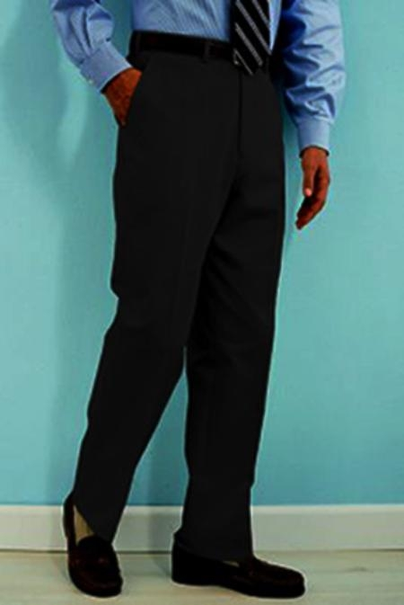 SKU#QS332 PA-100 Black premier quality italian fabric Flat Front Mens Wool Dress Pants Hand Made Relax Fit