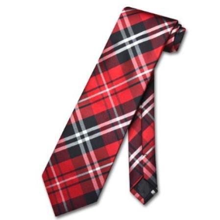 Black Red White Design Mens Neck Tie
